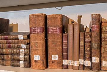 Books from the Daniel Hand library now owned and safeguarded by the Madison Historical Society