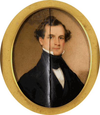Oval portrait of a young Daniel Hand dated September 1840. Oil on ivory, mounted on paper.