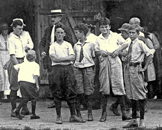 Detail of youngsters waiting in line outside the Madison Airdome, 1918