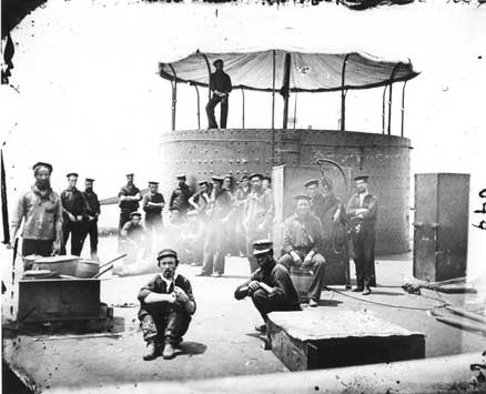 USS Monitor crew cooking on deck, July 9, 1862, by James F. Gibson