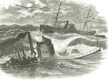 "Line engraving published in ""Harper's Weekly"", 1863, depicting USS Monitor'' sinking in a storm off Cape Hatteras on the night of 30-31 December 1862. A boat is taking off crewmen, and USS Rhode Island is in the background. Photo courtesy of ""Harper's Pictorial History of the Civil War"""