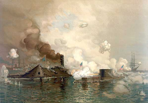 Chromolithograph of the Battle of Hampton Roads