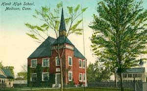 Vintage postcard of Hand High School with Lee's Academy in the distance
