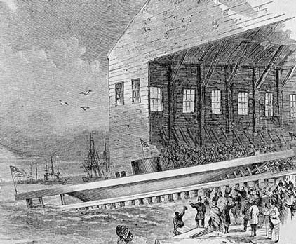 Launching of the USS Monitor-photograph from engraving