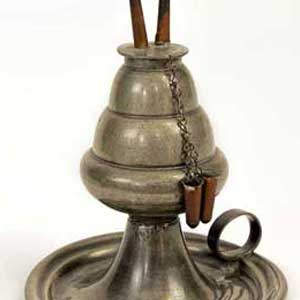 Detail of pewter whale oil lamp