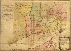 Antique map of the Connecticut colony 1766