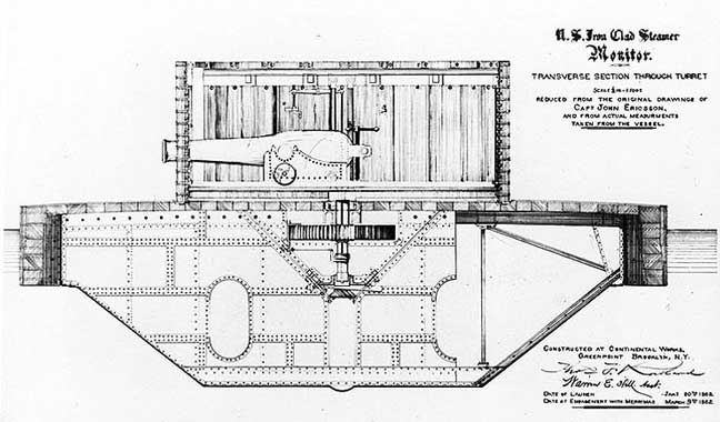 Engraving of transverse hull section through the turret