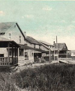 Hand-colored vintage postcard of Circle Beach, Madison