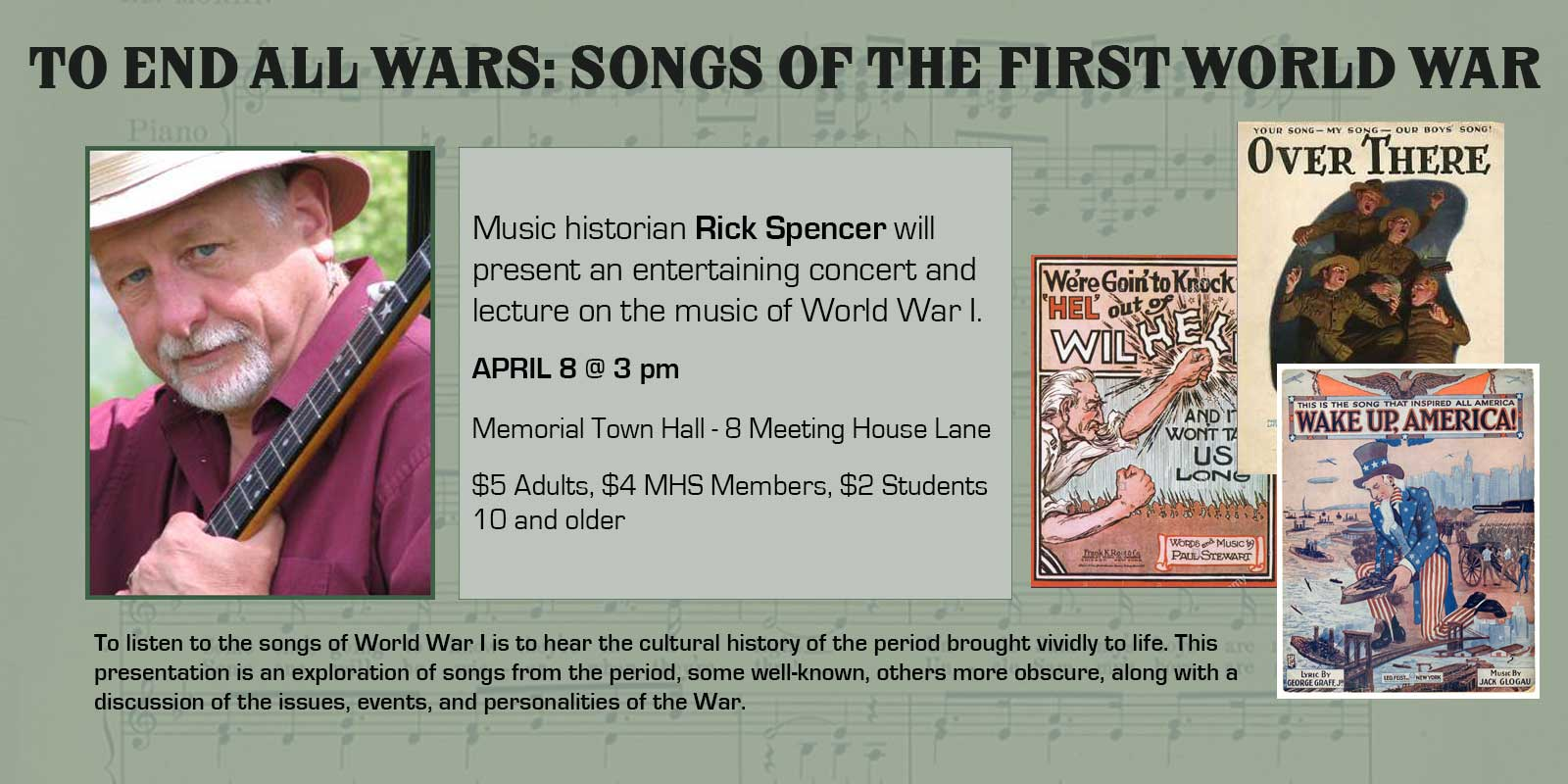 Homepage banner announcing the songs of WWI musical history program on April 8, 2018