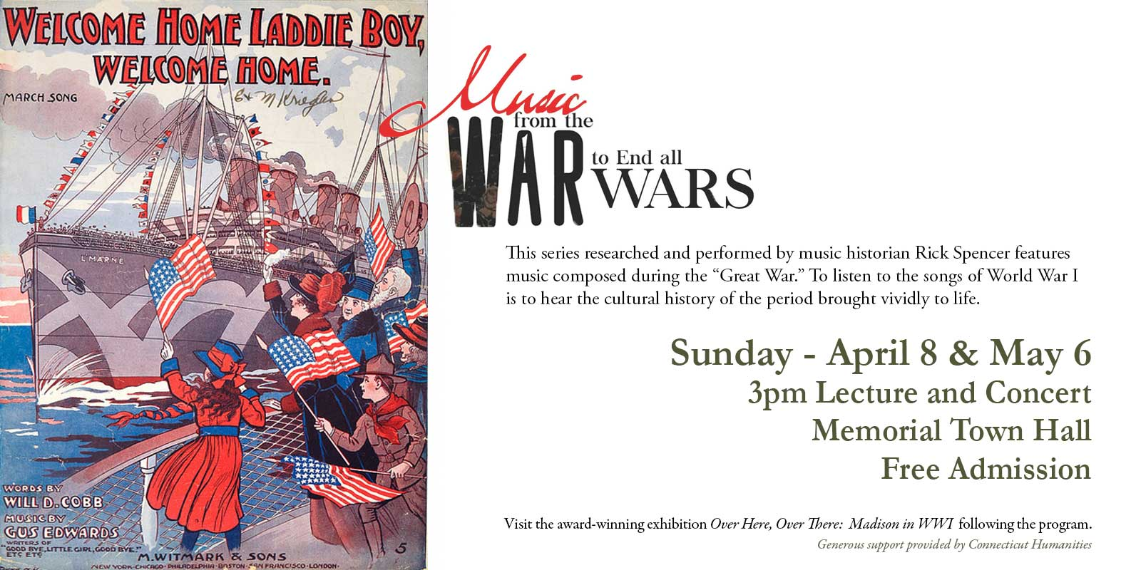 Announcement for concert series featuring songs from World War I